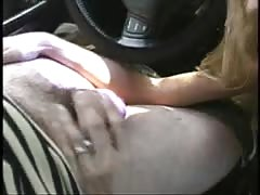 Elegant blonde is getting a hot cum load at the backseat